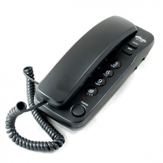 Телефон проводной RITMIX RT-100 black, без дисплея, компактный , набор номера на базе аппарата, импу