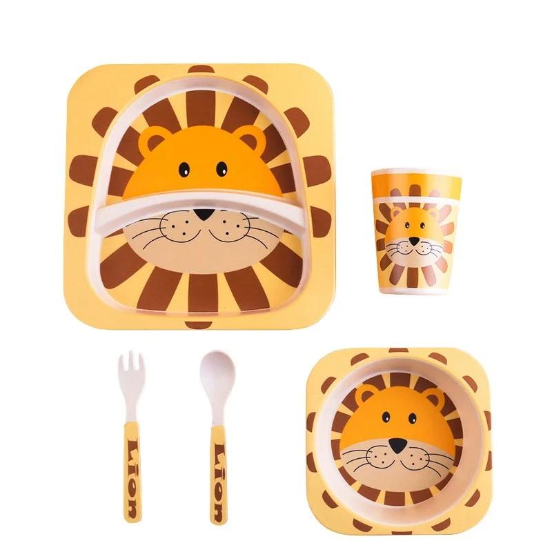 Детская эко-посуда из бамбука в ассортименте, Лев фото