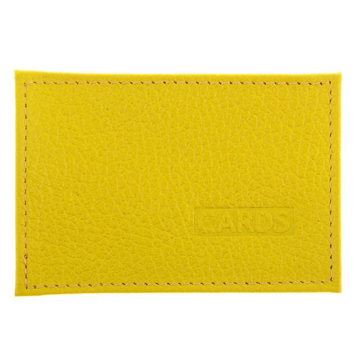 Футляр для банковской карты, кожа, Желтый флотер