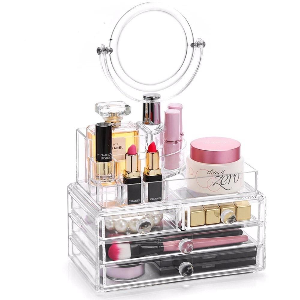 Органайзер для хранения косметики с зеркалом Cosmetic Organizer фото