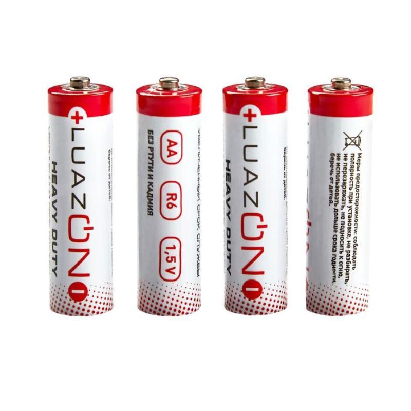 Батарейка солевая LuazON Heavy Duty, AA, R6, спайка, 4 шт