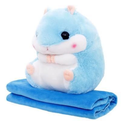 Плед-подушка хомяк 3 в 1, голубой