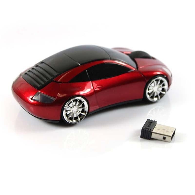 Беспроводная мышь в форме машины Porsche, красный