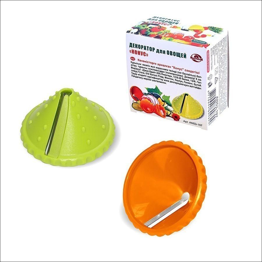 Декоратор для овощей - Конус, цвет - миксОвощерезки и измельчители<br>Терка-декоратор для спиральной нарезки фруктов и овощей. Изготовлено из пищевого пластика, лезвие из нержавеющей стали с лазерной заточкой.<br>