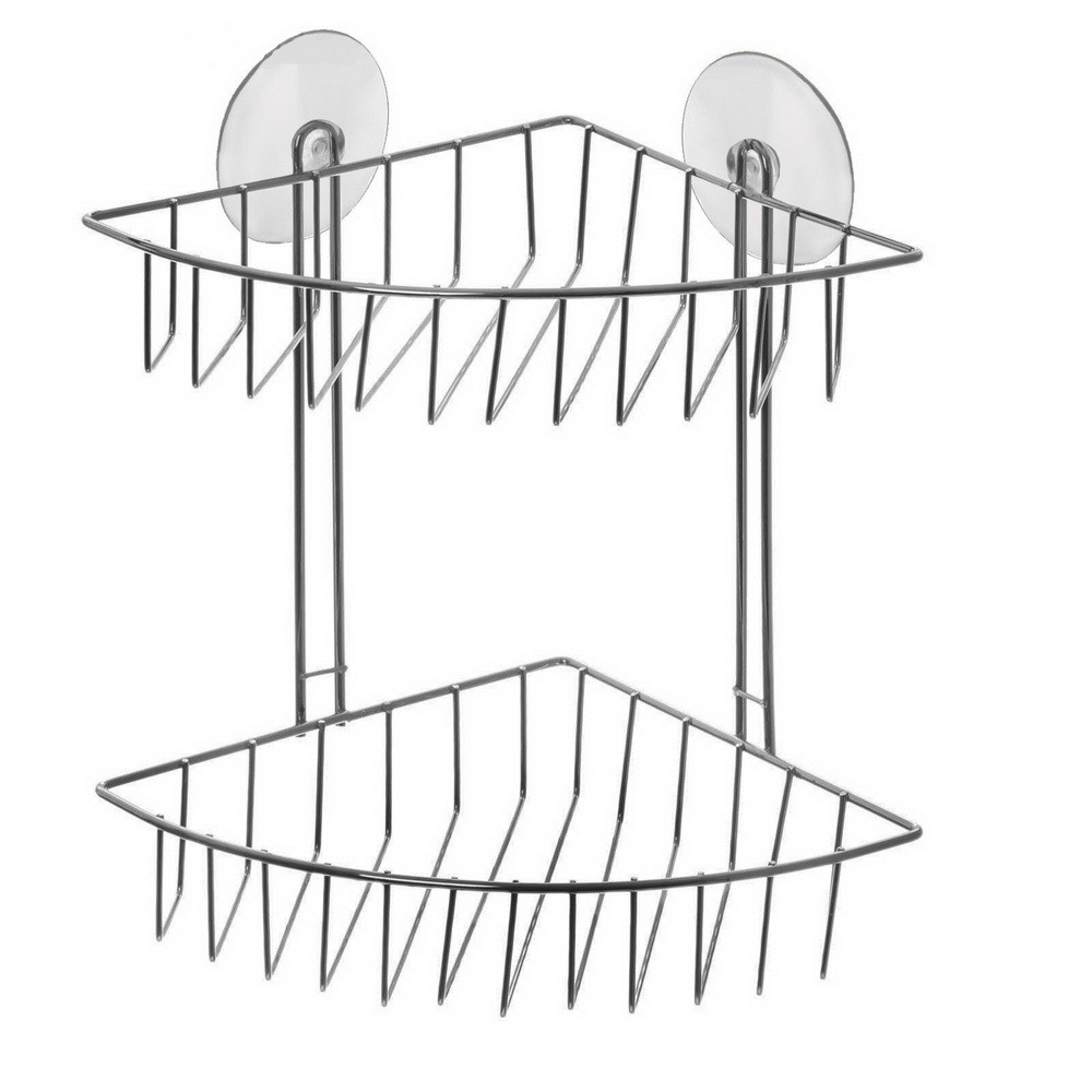 Полка 2х-ярусная угловая, 4 присоскиКрючки и подставки<br>Ищете качественную полку для зубных щеток и прочих аксессуаров в ванной комнате? Не хотите сверлить стены? Грамотным выходом станет приобретение угловой двухярусной полочки-решетки на вакуумных присосках. Аксессуар идеально впишется в интерьер любой ванной, а главное – прослужит вам много лет!<br>