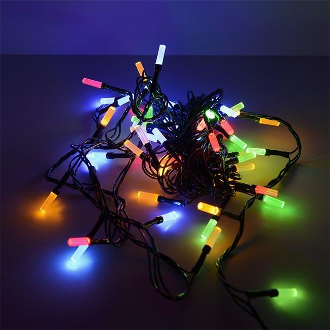 Гирлянда светодиодная Сигнал Лучики SE–BEAM–560M, 5М, 60LED, мульти (4цв.), темно-зел. шнур 0,7м, контр.
