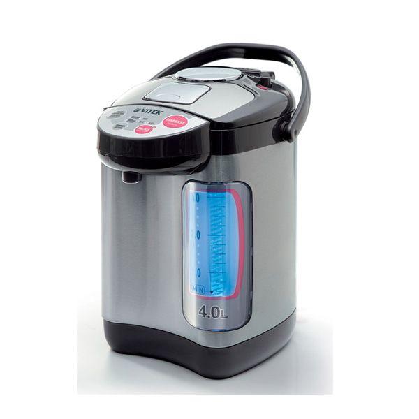 Термочайник Vitek VT-1188 GY VT-1188(GY)Электрочайники и термопоты<br>Четырехлитровый термопот VT-1188 GY понравится каждому пользователю. Двойные стенки позволяют корпусу устройства не нагреваться. Встроенный термостат обеспечивает поддержание определенной температуры воды на протяжении достаточно большого количества времени. Благодаря наличию индикатора уровня воды, вы будете всегда знать, когда необходимо добавить воду. Наливать воду в чашку вам предлагается тремя способами – вручную, в автоматическом режиме или путем нажатия чашкой на клапан.<br>
