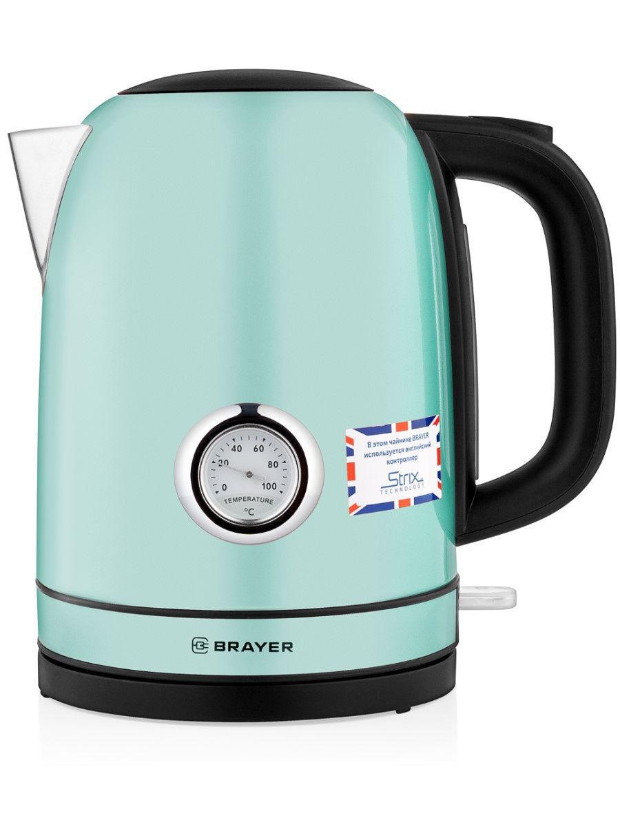 Чайник электрический Brayer BR1005BK, 2200 Вт, 1,7 л, STRIX, зелёный