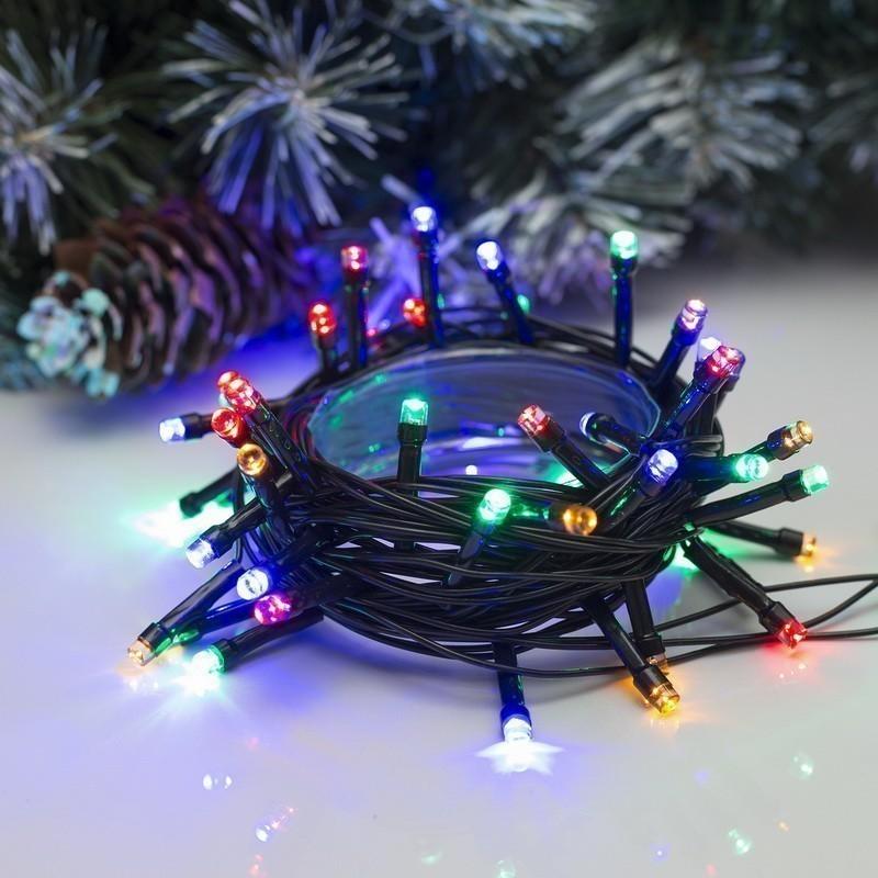 Комнатная гирлянда - Нить, 5 м, 50 ламп, 8 режимов, мультицвет (LED)
