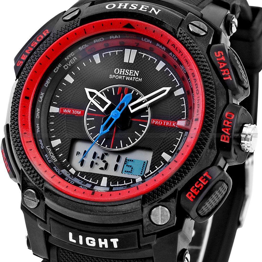 Часы дайвера на 50м Ohsen красныеСпортивные LED часы<br>Кто сказал, что спортсмены не могут носить стильные и полезные аксессуары? Часы дайвера на 50 м Ohsen красного цвета выдержат любую нагрузку! Вы можете носить изделие повсюду: на шумных вечеринках, на пробежках, при занятии экстремальными видами спорта и так далее!<br>
