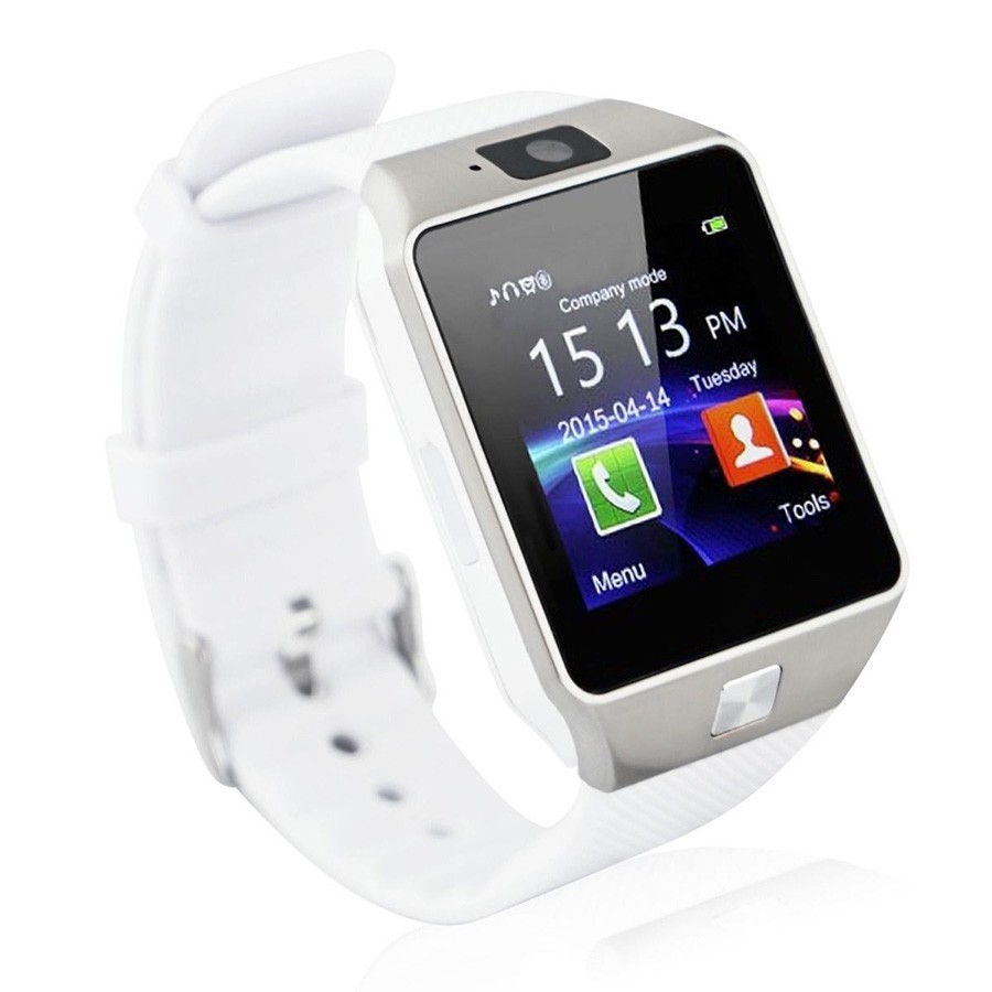 Умные часы DZ09 — Smart Watch DZ-09 — серебро, белый ремешок