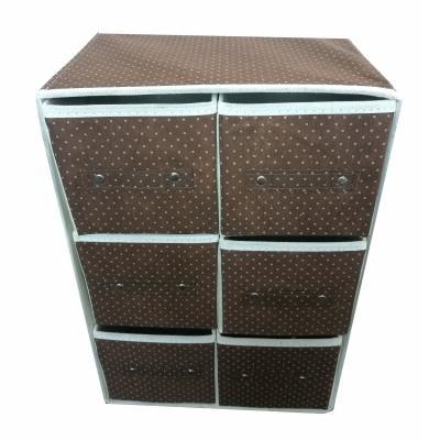 Портативный складной мини-комод, 6 отделений, коричневый