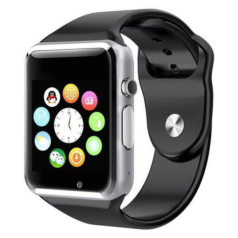 Умные часы Smart Watch A1, Серебро, Черный ремешок