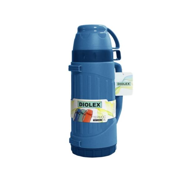 Термос DIOLEX пластиковый со стеклянной колбой 1000 мл.синийТермосы<br>Высококачественный вместительный термос, который очень удобен для каждого, кто ведет динамичный образ жизни, а также любит походы и поездки на пикники.<br>