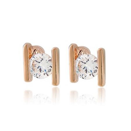 Серьги-гвоздики с кристаллом — цвет золото