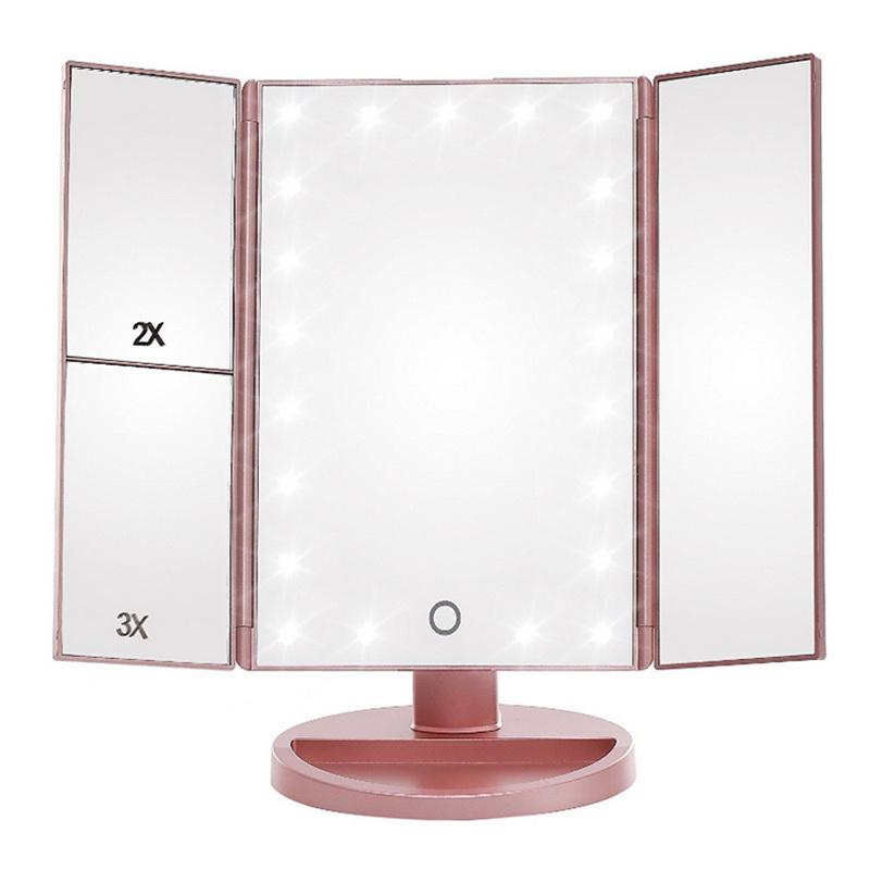 Зеркало косметическое с LED-подсветкой трехстворчатое Superstar Magnifying Mirror, розовый