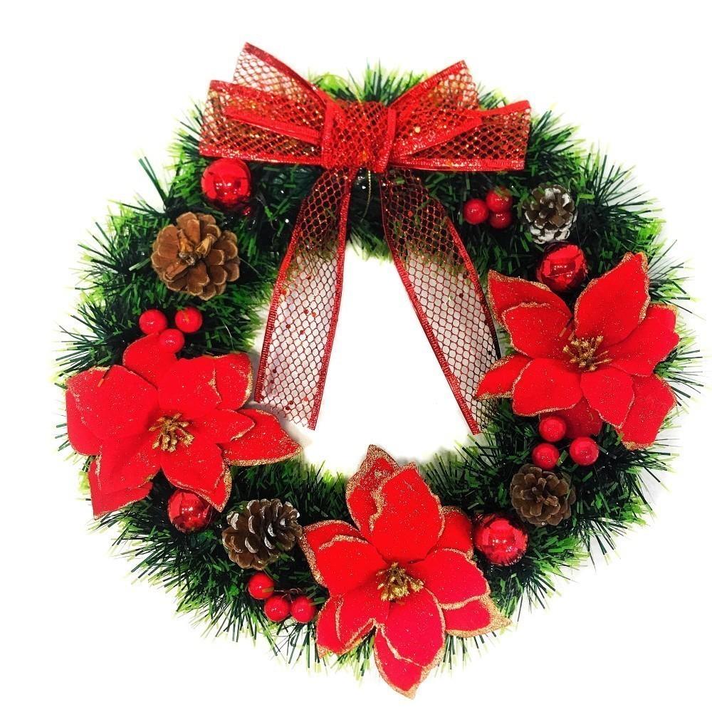 Новогодний декоративный венок Рождественская звезда, 30 см фото