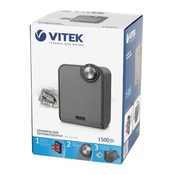 Тепловентилятор Vitek VT-1753(GY)Тепловентиляторы<br>Тепловентилятор VITEK VT-1753 GY с керамическим нагревательным элементом способен создать и поддерживать комфортный микроклимат на площади до 20 кв. м. - Эта модель подходит для жилых комнат и небольших офисов, хорошо вписывается в современный интерьер.<br>
