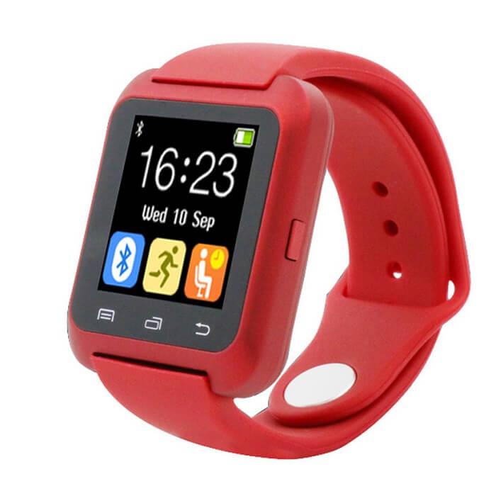 Умные часы Smart Watch U80 - красныеУмные Smart часы<br>Максимальная функциональность по минимальной цене! Китайский производитель сумел вложить все функции телефона в миниатюрные часы. И даже снабдил камерой, датчиками сна, приема воды, музыкальным и видео проигрывателем, синхронизацией со смартфоном, контактами, Facebook, VK и многое другое!<br>