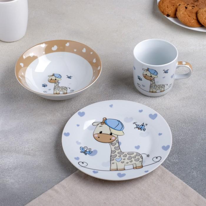 Набор детской посуды — Жирафик, 3 предмета: кружка 230 мл, миска 400 мл, тарелка 18 см