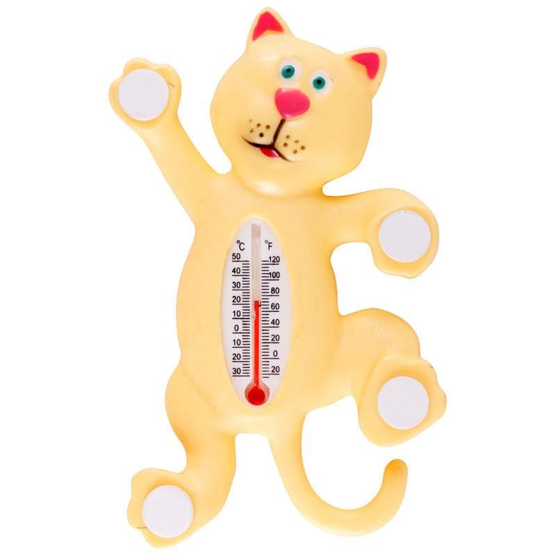 Термометр оконный на липучках - Котик