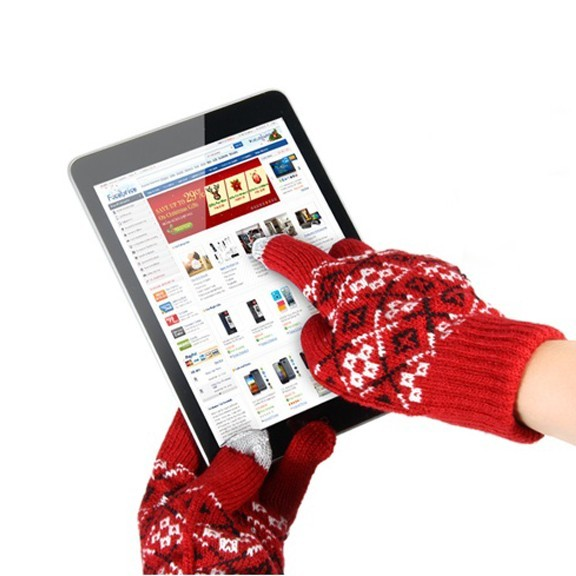 Перчатки для сенсорных экранов - с узором, 2 пальца, Красные
