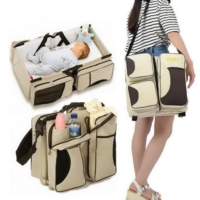 Многофункциональная сумка для мам - детская кровать для путешествий, коричневый-белый фото