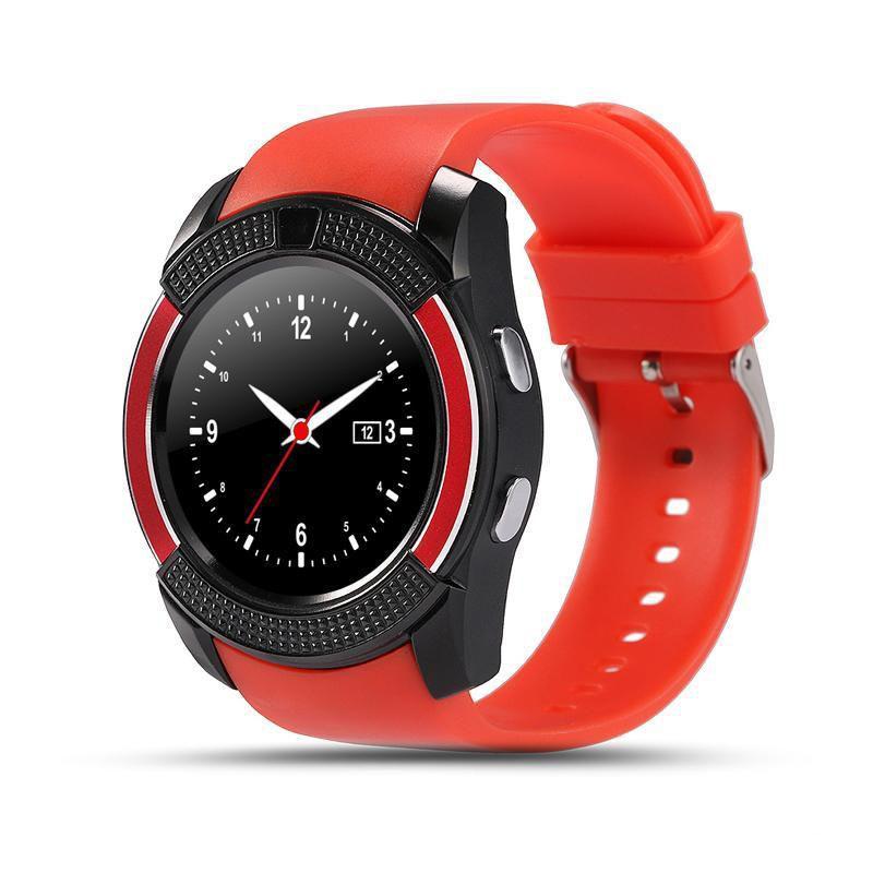 Смарт-часы Smart Watch V8, красныйУмные Smart часы<br>Хотите быть уверенным, что с вашим ребенком все в порядке тогда, когда он находится вдали? Совместите программу на вашем телефоне со смарт-часами Smart Watch V8. Теперь вы всегда будете на связи с чадом, а в любой нестандартной ситуации сможете помочь!<br>