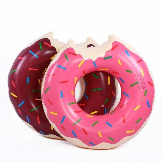 Надувной круг для плавания — Пончик с глазурью, 70 см, розовый