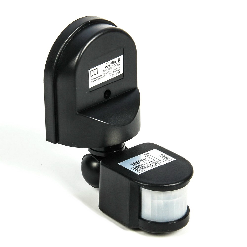 Датчик движения ASD ДД-008-В, инфракрасный, 1200 Вт, 12 м, чёрный
