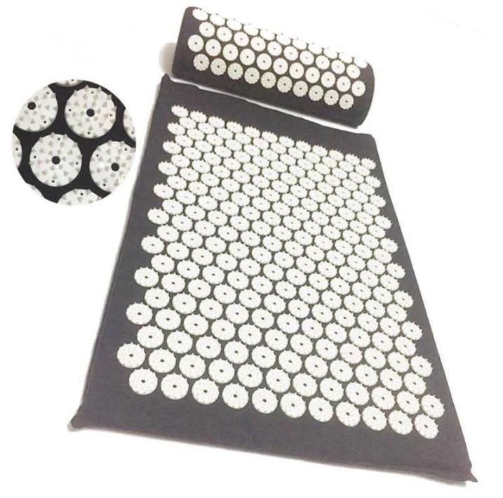 Акупунктурный массажный комплект из коврика и валика Acupressure Mat, серый