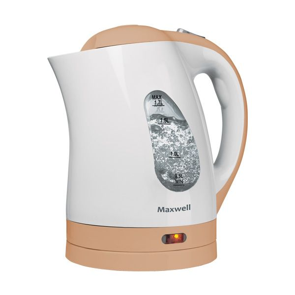 Чайник Maxwell MW-1014 (BN)Электрочайники и термопоты<br>Чайник MAXWELL MW-1014 BN – позволит легко и быстро вскипятить воду для любимых горячих напитков. Компактная модель совмещает в себе все важные функции, которые позволят комфортно пользоваться чайником. Устройство автоматически отключается, когда вода в нем закипает и не включается, если воды в чайнике недостаточно. Более того, во время работы чайника горит соответствующий индикатор, а при помощи специальной шкалы на корпусе устройства вы всегда будете знать, хватит ли воды для чая. Удобство использования чайника дополняется стильным дизайном. Именно поэтому данная модель прекрасно смотрится в любом кухонном интерьере.<br>