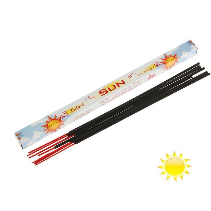 Благовония Sarathi (Индия) Солнце - Sun, 8 штВсе чаще чувствуете разбитость или раздраженность? Это – не повод бегать в аптеки за антидепрессантами. Вам помогут благовония Sarathi (Индия) Солнце - Sun, 8 шт. Буквально через несколько минут ваш дом наполнится приятным легким ароматом, а в душе появится счастье и удовлетворение!<br>