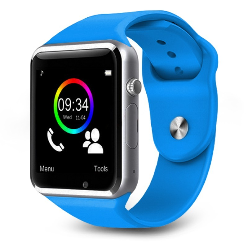 Умные часы Smart Watch A1 - серебро, голубой ремешокУмные Smart часы<br>А вы знаете, что часы могут не только показывать время, но и с легкостью заменят даже самый дорогой планшет? Умные часы Smart Watch A1 поразят вас своей многофункциональностью и привлекательной ценой в интернет магазине Мелеон!<br>
