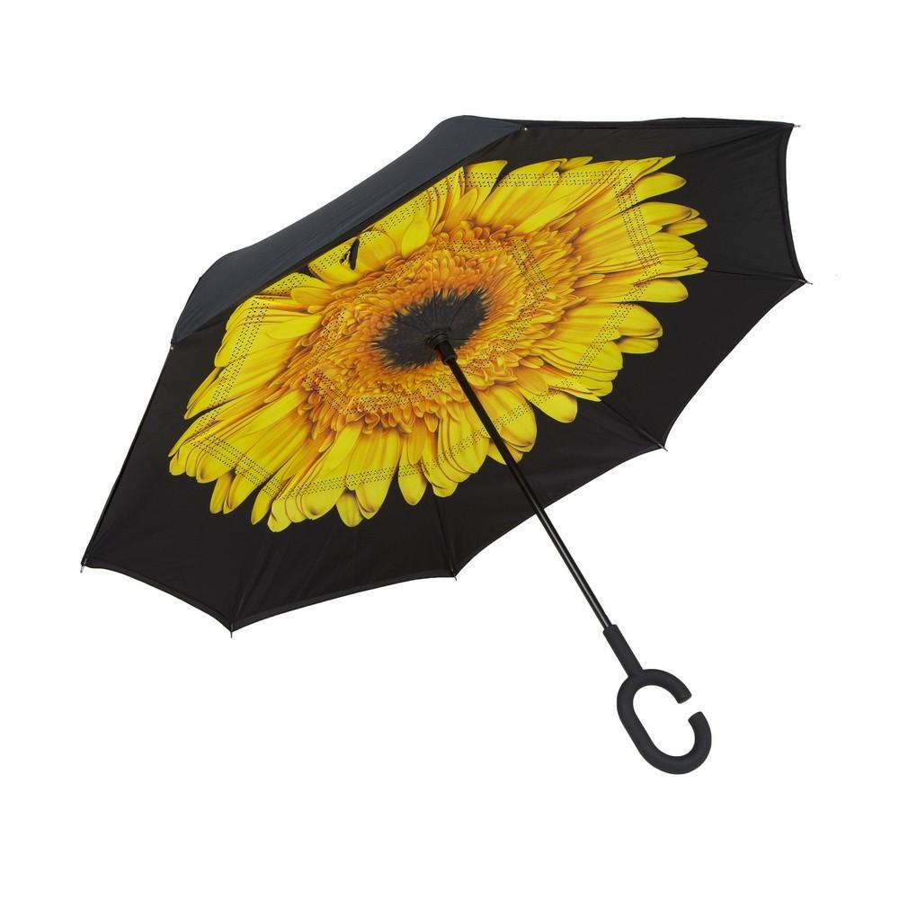 Обратный ветрозащитный зонт Up-brella цветок, желтыйЗонты<br>Живете в регионе, где часто пасмурно? Если вам наскучили неудобные зонты, то вы просто не слышали ничего о конструкции, которая вот уже несколько лет уверенно завоевывает сердца людей в других странах. Это – обратный ветрозащитный зонт Up-brella цветок.<br>