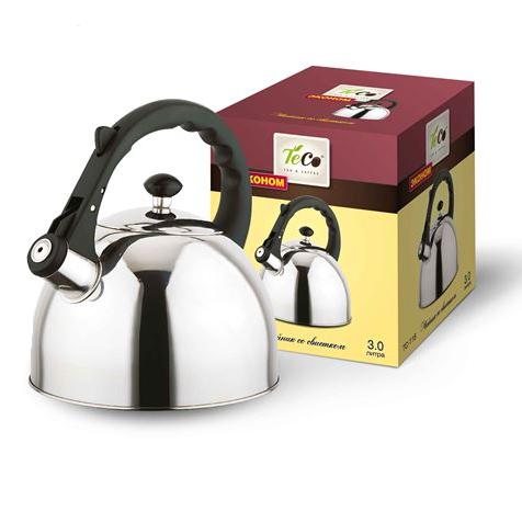 Чайник TECO 3 л. со свистком,нерж. стали TC-118Чайники металлические<br>Чайник оборудован свистком для определения закипания воды и изготовлен из высококачественной нержавеющей стали. Капсульное дно распределяет тепло равномерно по всей поверхности, что обеспечивает быструю скорость закипания.<br>