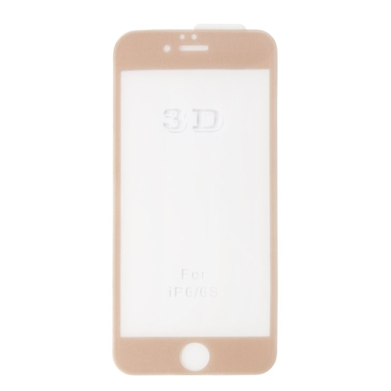 Защитное стекло «LP» для iPhone 6/6s Tempered Glass 3D с рамкой 0,33 мм. 9H (ударопрочное/золотое)