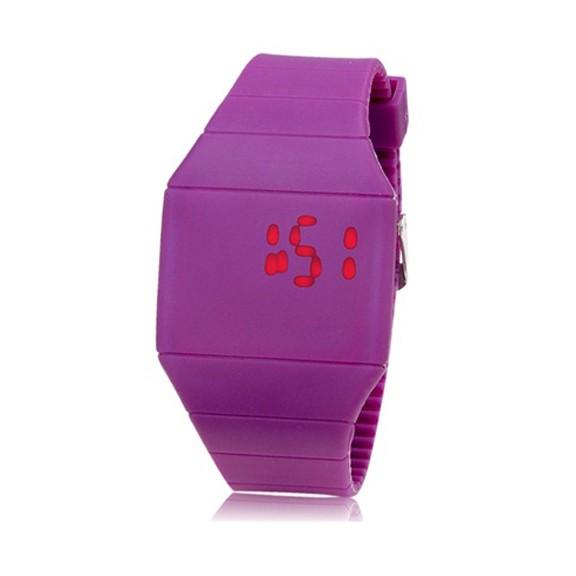 Ультратонкие силиконовые LED часы Nexer G1206 пурпурные