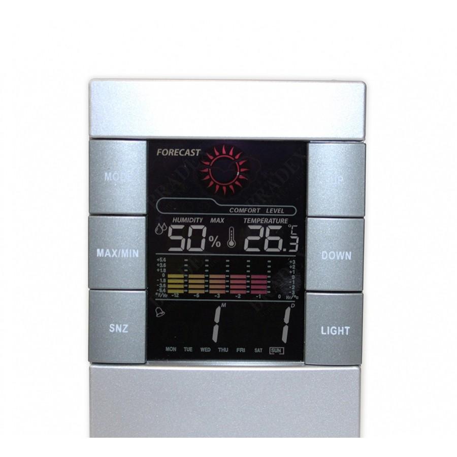 Метеостанция электронная - Синоптик ColoredМетеостанции<br>Электронная метеостанция «Синоптик Colored» позволяет измерить температуру и уровень влажности воздуха в комнате, имеет встроенный календарь и часы.<br>