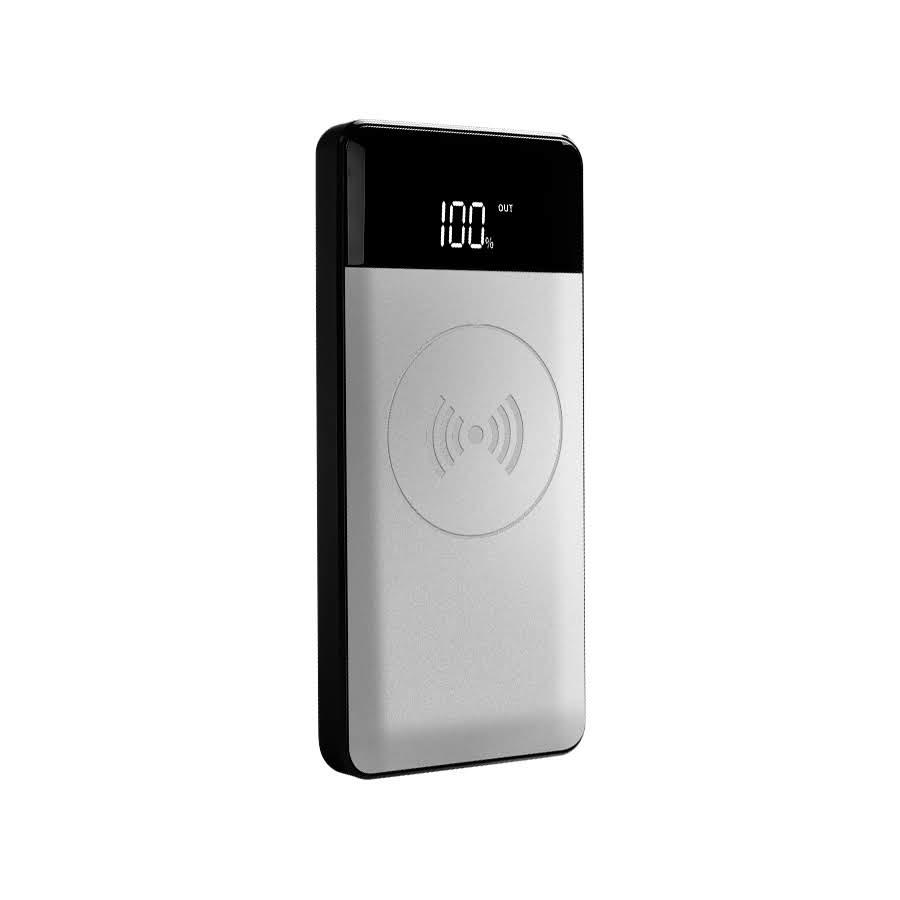 Внешний аккумулятор с беспроводной зарядкойHoox Aura 10000, серебро