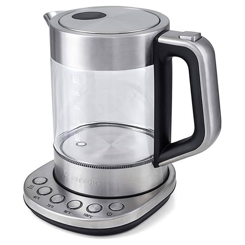 Чайник Kitfort 616-КТЭлектрочайники и термопоты<br>Электрический чайник с терморегулятором Kitfort КТ-616 может не только вскипятить воду, но и нагреть ее до температуры 40, 70 и 90°С, что очень удобно при заваривании различных сортов чая. Температура 40°С  пригодится для приготовления детского питания.<br>