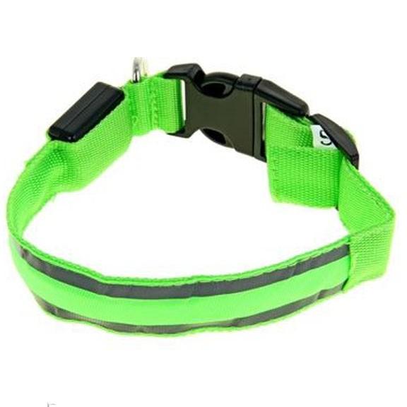 Светящийся ошейник со светоотражателем - 40-45 см, зеленыйСветящиеся ошейники<br>Если Вас немного пугают прогулки в ночное время суток с собакой, то настоятельно рекомендуем Вам приобрести светящийся ошейник со светоотражателем. Теперь Вы сможете видеть все, что делать питомец на улице и даже спокойно отпустить его побегать!<br>