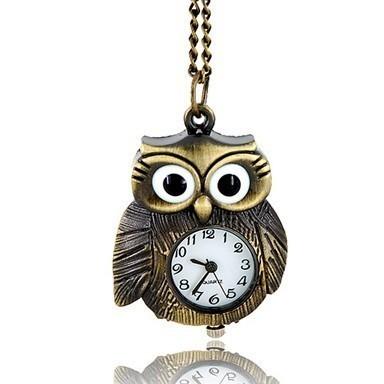 Бронзовые часы в виде совыКарманные часы<br>Очаровательные бронзовые часы-подвеска в виде совушки подчеркнут casual стиль взрослой девушки и подростки. Кварцевый механизм, антикварный дизайн, бронзовое напыление.<br>