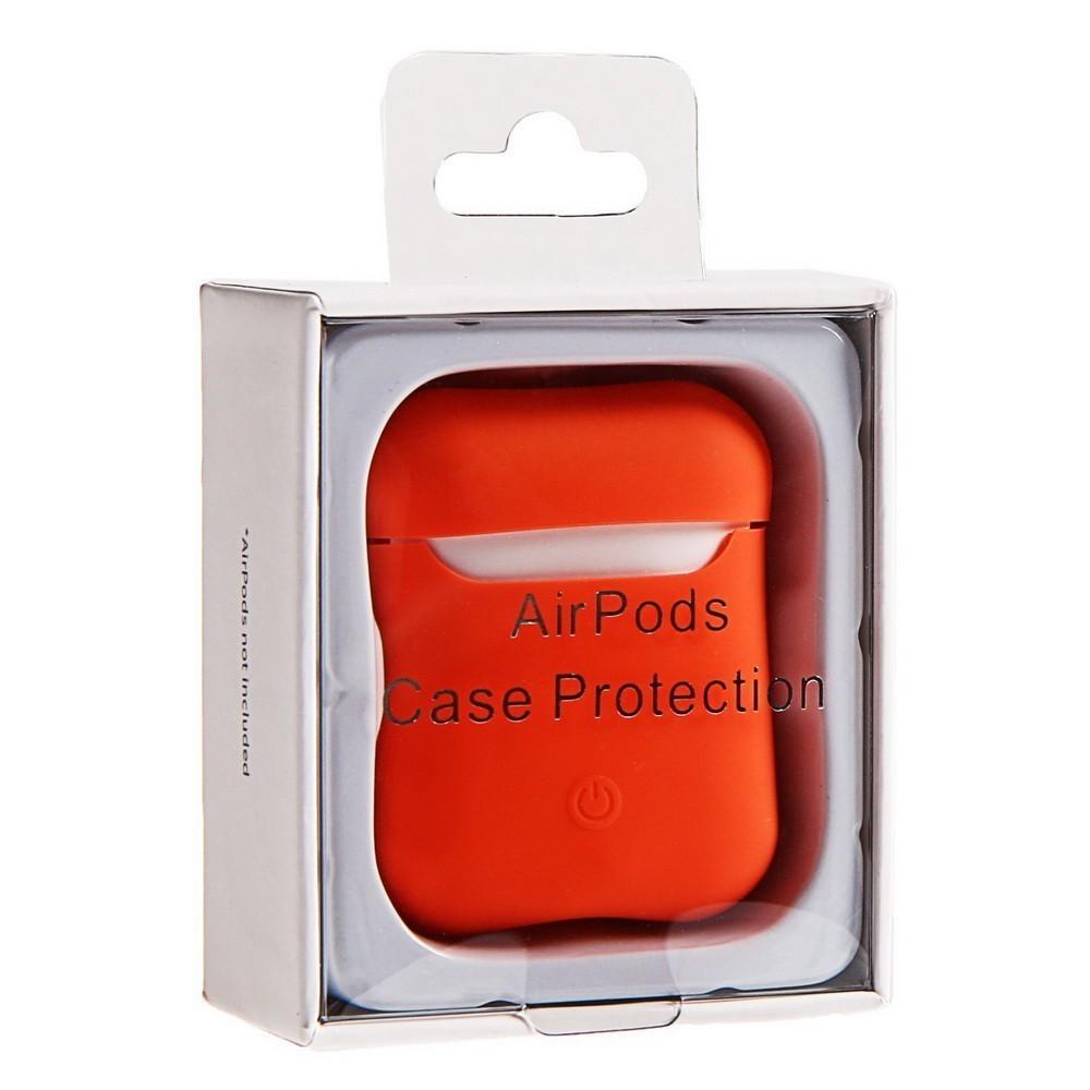 Чехол Soft touch для кейса Apple AirPods, оранжевый фото