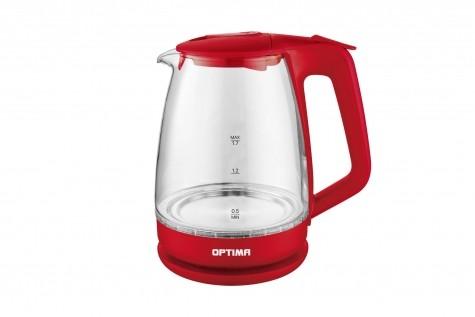 Чайник электрический OPTIMA EK-1718G, красный (1,7л, корпус из стекла, защита от перегр., LED подстветка, 2200 Вт., ассорт)