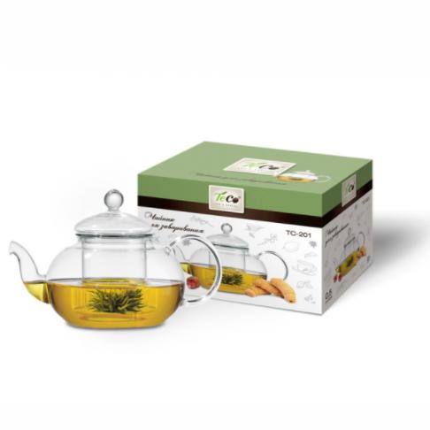 Чайник для заваривания 500 мл из стекла c ситом TC-201Чайники заварочные и френч-прессы<br>Заварочный чайник «Teco» изготовлен из термостойкого стекла. Крышка и сито изготовлены из нержавеющей стали. Cито предотвращает попадание чайных листьев в напиток. Благодаря прозрачности стекла, удобно оценить степень заваривания напитка.<br>