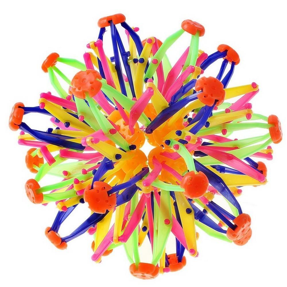 Игрушка большой шар-трансформер (сфера Хобермана)Остальные игрушки<br>Игрушка большой шар-трансформер (сфера Хобермана) – это яркий разноцветный шарик, который понравится ребенку в любом возрасте. Он сжимается и расширяется в руках, а при подбрасывании самостоятельно раскрывается.<br>