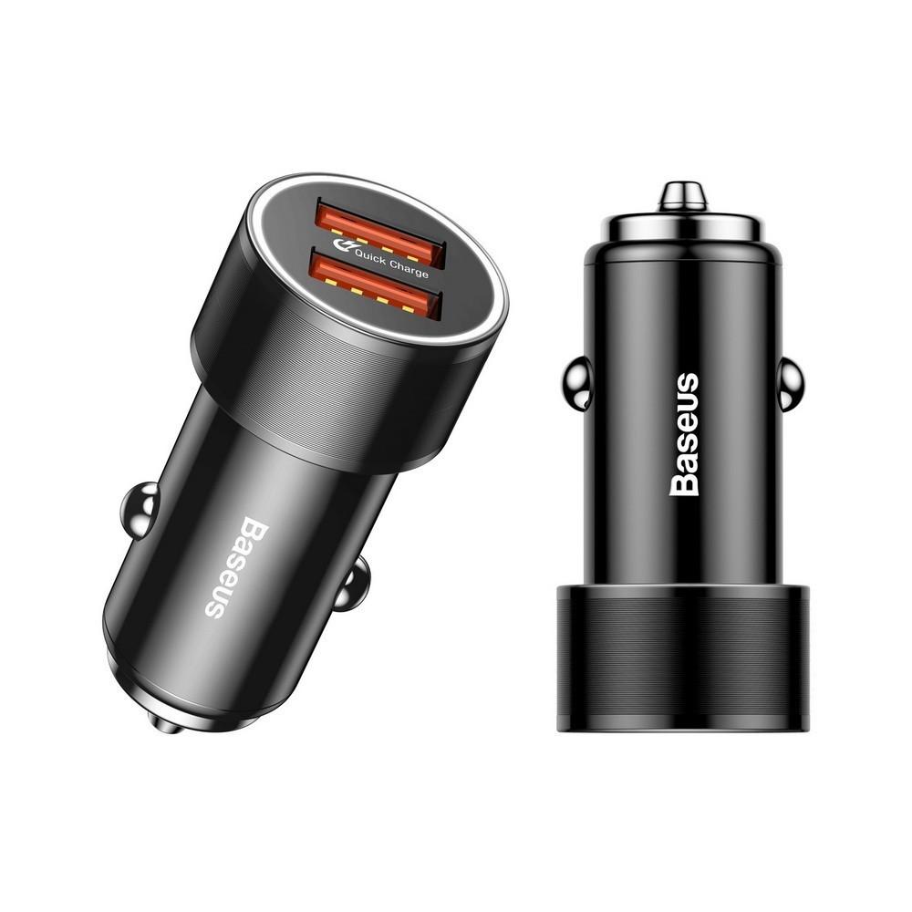 Автомобильная зарядка Baseus Dual-USB Quick Charge Car Charger 36W, чёрный
