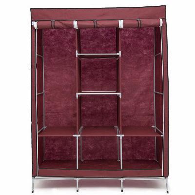 Мобильный тканевый шкаф Storage Wardrobe бордовый