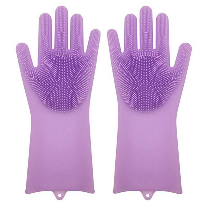 Силиконовые перчатки для мытья посуды Livingenie, цвет микс